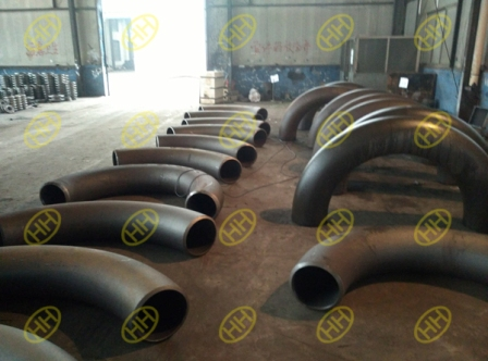 120 pcs hot induction bends are arranged heat treatment in haihao pipe fitting factory.