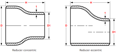 Dimensions of butt welding concentric eccentric reducers ANSI ASME B16.9