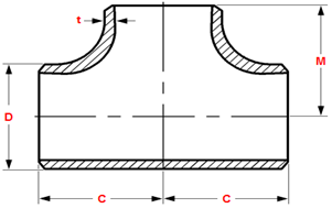 Dimensions of butt welding straight tees and crosses ASME B16.9