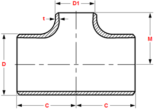 dimensions of butt welding reducing tees and crosses ASME B16.9