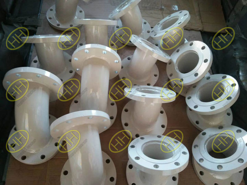 Plastic lined elbows with flanges
