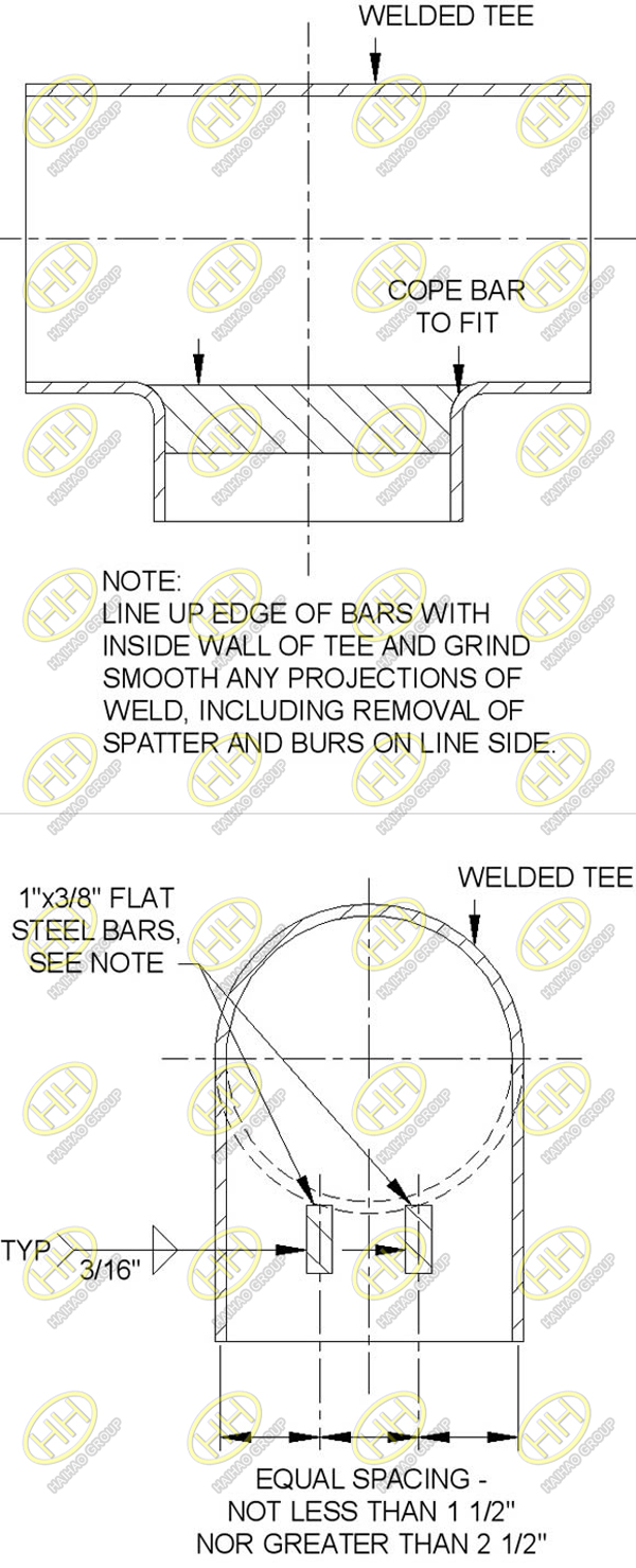 Data sheet of a barred tee
