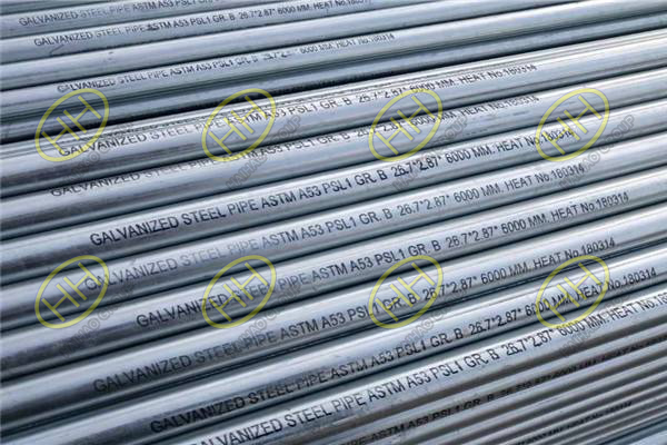 Galvanized steel pipes ASTM A53 PSL1