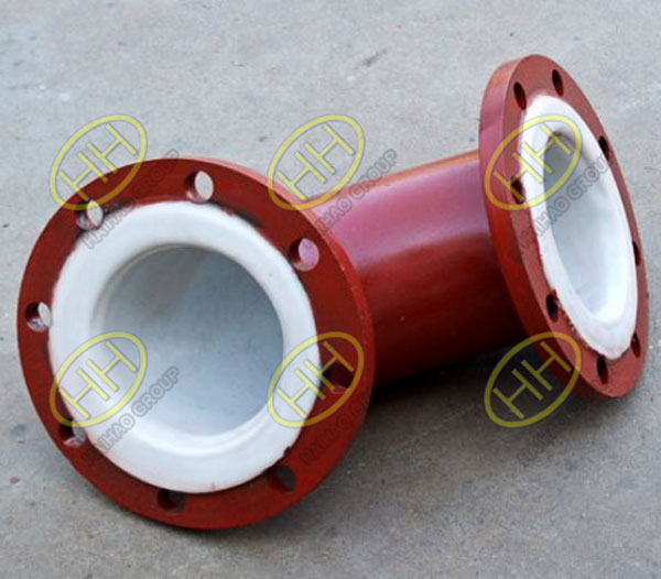 Plastic lined flanged 90 degree elbow